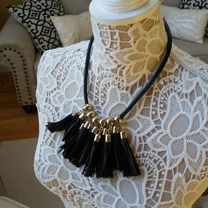 NWT! WHBM Genuine BLACK Leather TASSEL Necklace